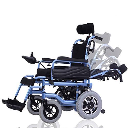 DONGBALA Zusammenklappbarer Elektrischer Rollstuhl, Vollständig Liegen Älterer Automatischer Rollstuhl Aluminiumlegierung Doppelmotor 500W Lithium-Batterie Mit Großer