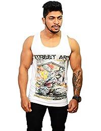 782f4044 SDS Fashion Men's Sleeveless Cotton Round Neck White Printed T.Shirt  Perfect Gym Wear Summer