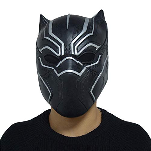 QWEASZER Captain America: Bürgerkrieg, PS4 Black Panther Masken, Marvel Avengers Maske - Perfekt für Karneval Halloween - Erwachsenen Kostüm - Latex, Unisex,Black Panther-OneSize (Maske Black Panther-marvel)