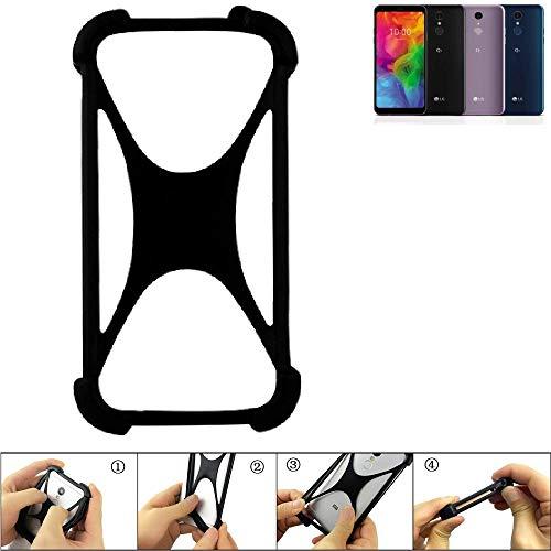 K-S-Trade Handyhülle für LG Electronics Q7 Alfa Schutz Hülle Silikon Bumper Cover Case Silikoncase TPU Softcase Schutzhülle Smartphone Stoßschutz, schwarz (1x)