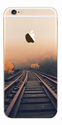 MPPK-Hamburg ® Apple iPhone ® 6 Plus / 6s Plus 5,5 Zoll Schutz Hülle - Case in wunderschönem Design – Stabiles / transparentes PC - Polarlichter Grün Eisenbahnschienen