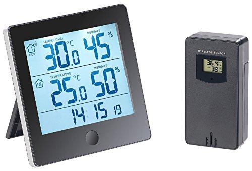 infactory Temperatur-Logger: Thermo-/Hygrometer-Datenlogger mit Außensensor, Bluetooth & App (Thermometer mit Datenlogger)
