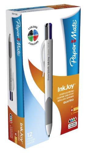 paper-mate-s0977260-lot-de-12-stylos-bille-quatre-couleurs-inkjoy-quatro-pointe-moyenne-encres-class