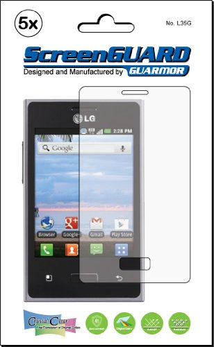 5x LG OPTIMUS Logic L35G Net10/gerade Talk Premium Clear LCD Screen Protector Kit,, exakte Passform, kein Schneiden. (5Stücke von GUARMOR) Lcd Screen Protector Kit
