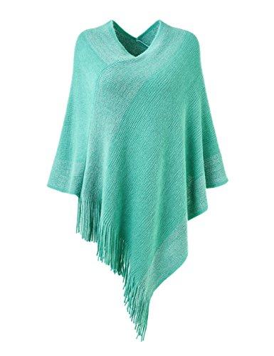 Ferand stylischer gestrickter Poncho Pullover mit Streifen, V-Ausschnittund Fransen für Frauen, One Size, Grün