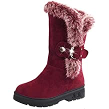 Botas de mujer Botas de nieve para mujer Botines de mujer Señoras Ponerse Suave Punta redonda Plano Invierno Pelaje Ocio Suave Zapatos LMMVP