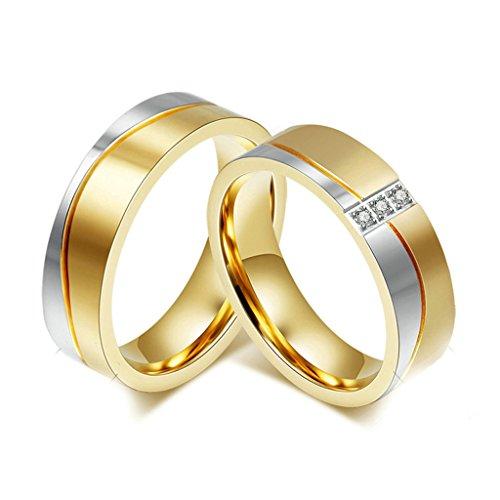Gnzoe Gioielli 2Pcs Anello da Uomo Donna, Zirconi,Fidanzamento,Anelli,Acciaio Inossidabile,Oro (Primo Uomo A Piedi Luna)