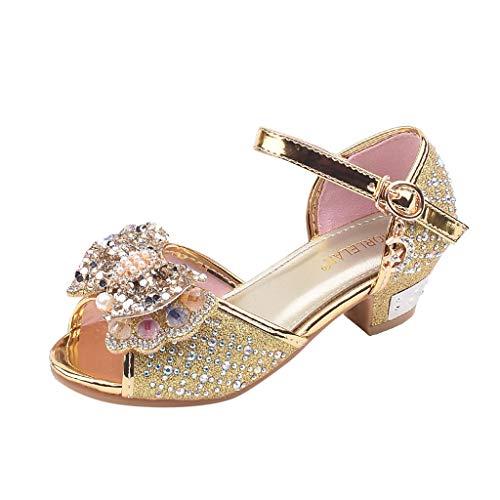 Berimaterry Zapatos de Tango Latino para Niños Vestir Fiesta Arco Princesa Sandalias Perla Rhinestone...