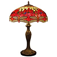 Tiffany Style Table Desk Beside Lamp 24 Inch Tall Red Yellow Stained Glass Shade Crystal Bead 2 Light Antique Zinc Base For Living Room Bedroom Dresser Bookcase S328 WERFACTORY