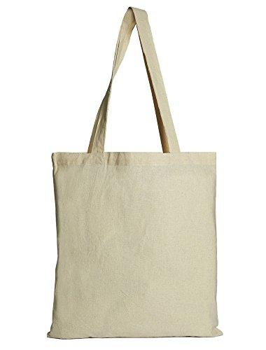 organzabeutel24   10 Baumwoll-Tragetaschen, Einkaufstaschen, Grösse 40x37 cm, mit extra Langen Henkeln, 100% Baumwolle, sehr strapazierfähig, 180 GSM -
