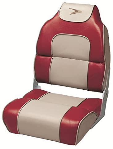 Wise High Back Boat Seat with Logo (Red/Tan) by Wise