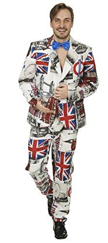 Engländer London Anzug für Herren Gr. 46 48 - Lustiges Kostüm für Fasching, Mottoparty und Junggesellenabschied
