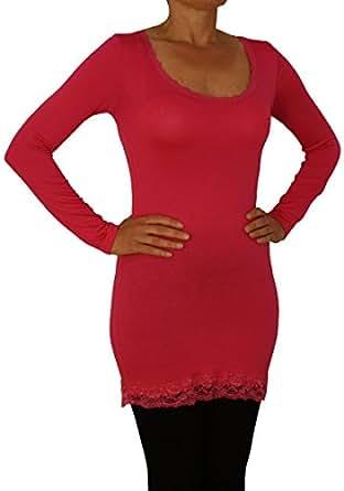 0183 Damen Langarm Shirt mit Spitze, Viskose, one size, pink.