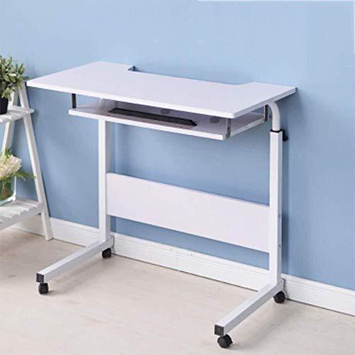 MXK Verstellbarer Rundtisch 80 cm Mobiler Laptop Computer Ständer Schreibtischwagen Ablage Beistelltisch Für Bett Sofa Krankenhaus Krankenpflege Lesen Essen (Color : White) -