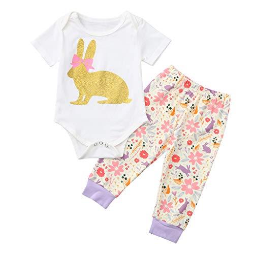 JUTOO 2 Stücke Set Neugeborenes Baby Mädchen Ostern Kaninchen Outfits Strampler Tops + Floral Hosen Set (Weiß 2,70)