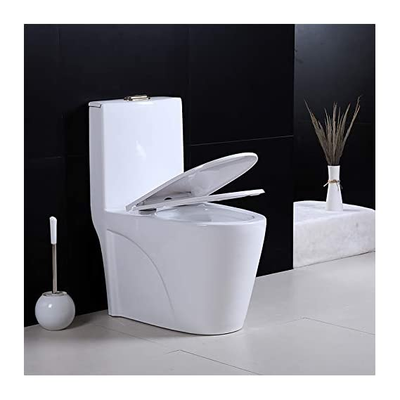 Ceramic One Piece Western Toilet/Commode/Water Closet with Syphonic Flushing S Trap - (White) by Urban Concept