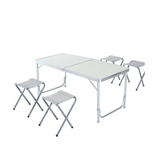supporto per ombrellone pieghevole Tavolo da campeggio per 6 persone regolabile picnic 60 x 120 cm CAPTURE Camp6 AL-120E in alluminio