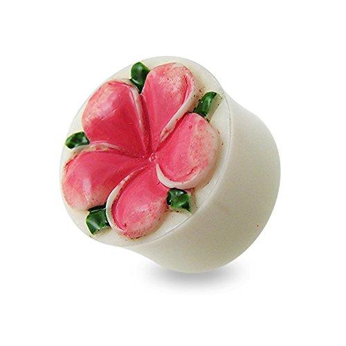 Plug Tunnel double faces plates Fleur rose taillée dans os
