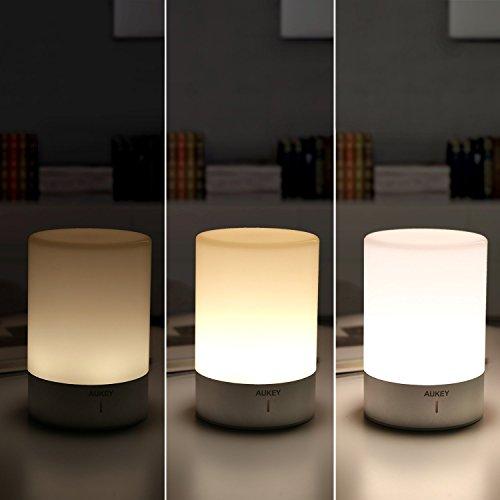 Aukey lampada da comodino lampada controllo touch dimmerabile illuminazione a 360 con colori - Lampada per camera da letto ...
