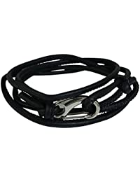 Ammvi Creations Stitched Faux Leather Cord Adjustable Black Bracelet for Men