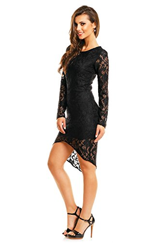 Damen Spitzenkleid Cocktailkleid Abendkleid Etuikleid aus Spitze asymmetrisch Schwarz