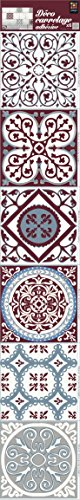 Plage Smooth - Tiles Fliesen Sticker Zementfliesen Rot und Blau [6 Bogen 15 x 15 cm x 5.90\'\' ], Vinyl, red and Blue, 15 x 0,1 x 15 cm