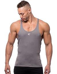 Jed North Bodybuilding Stringer - Camiseta de Tirantes para Gimnasio con Espalda Cruzada, Hombre, UKTANK007GRA_L, Gris, Large