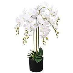Idea Regalo - vidaXL Orchidea Artificiale in Vaso 75cm Bianca Piante Finte Fiori Arredo Casa