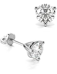 Abelini Certified 100% Natural Round Stud Diamond Earrings for Women (Available in 0.20-1.00ct & Yellow, White Gold & platinum)