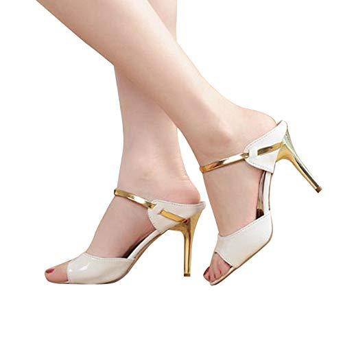 Kostüm Szene Glänzende Das Party - TianWlio Sandalen Damen Sommer Mode Sandalen Knöchel High Heels Block Party Offene Zehen Schuhe Weiß 36