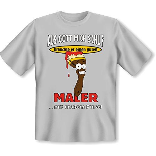 Cooles Witziges Fun T-Shirt. Lustiges Geschenk oder Mitbringsel - ALS GOTT MICH SCHUF.. MALER - Farbe: Grau (Cool T-shirt Funny Gesicht,)