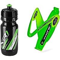 Raceone.it - Kit Race Duo X5 Gel (2 PCS): Porta Bidon X5 + Bidon de Ciclismo XR1 Bici Carrera de Ruta/Bicicleta de Montaña MTB/Gravel Bike. Color: Verde/Negro 100% Made IN Italy