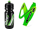 Raceone.it - KIT Race Duo X5 Gel (2 PCS): Bottle Cage X5 + Bike Water Bottle XR1 - Bottlecage for Race Cycling / MTB / Gravel. Color: Green / Black 100% MADE IN ITALY