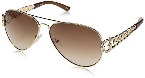 Guess G Kette Aviator Sonnenbrille In Gold-braun-gu7255gld-34 63