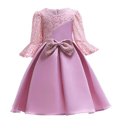 Sonnena Mädchen Lange Ärmel Kinder Baby Spitze Bogen Prinzessinnen Kleid Dress Mode Partykleid Geburtstag Outfits Kleidung Party mit Reißverschluss Hochzeitskleid Abendkleid