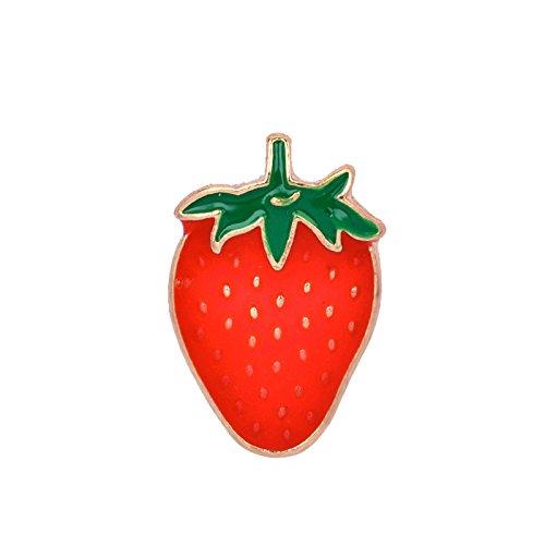 Adisaer Emaille Tasche Kragen Anstecker Brosche Damen Obst Erdbeere Broschen Rot Mädchen 1 Stück Hochzeit
