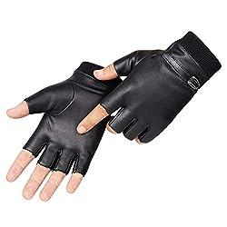 LIOOBO Pu-lederhandschuhe Radfahren halbfinger runde Taktische Handschuhe fahrhandschuhe für männer Frauen (schwarz)