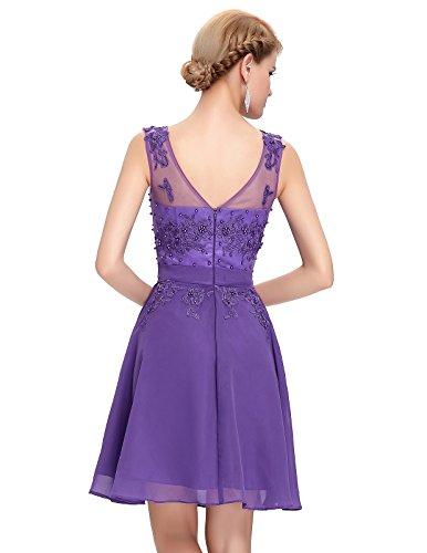 Grace Karin V-Rückenfrei Chiffon Langes Party Ballkleid Abendkleid ZY007555 Violett Kurz