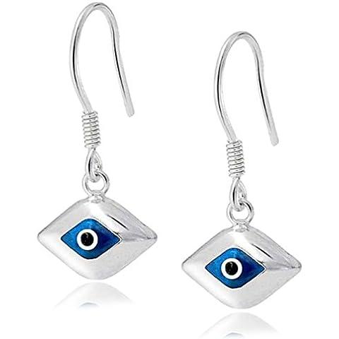 Bling Jewelry 925 Sterling Silver Evil Eye Blue Glass orecchini di goccia