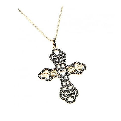 schwarze & Klare Kreuz Sterling Silber mit Rose gold überzogen Zirkonia Halskette