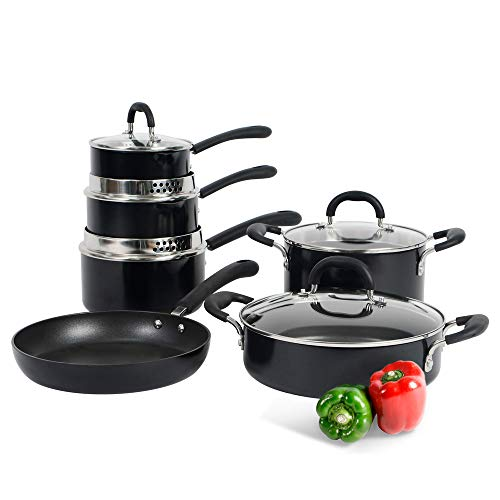 ProCook Gourmet Non-Stick Strain & Pour Induction Cookware Set | 6 Piece | Non-Stick Set of Cooking Pans for Induction Hobs with Toughened Glass Lids and Non-Slip Stay-Cool Silicone Handles