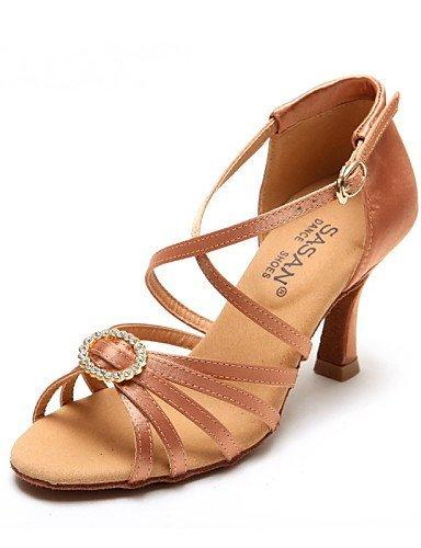 ShangYi Chaussures de danse ( Autre ) - Non Personnalisables - Talon Bobine - Satin - Latine / Jazz / Moderne / Chaussures de Swing Black