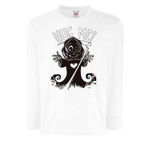N4630D Kinder-T-Shirt mit langen Ärmeln Umarme mich! Halloween Kleidung (3-4 years Weiß Mehrfarben) (Kleinkind Haloween Kostüme)