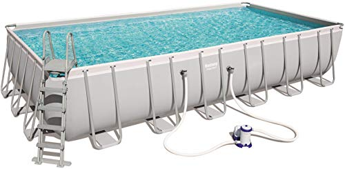 Bestway Power Steel Rectangular Frame Pool Set, viereckig 732x366x132 cm Stahlrahmenpool-Set mit Filterpumpe + Zubehör, grau