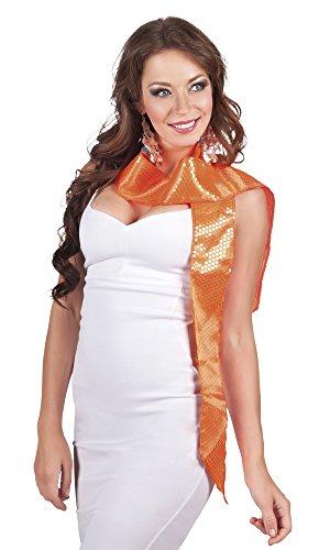 Faschingsfete Kostüm Ladys Schärpe Schal mit glänzenden Pailletten, Orange