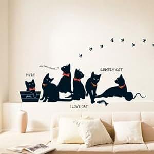 Sticker mural mignon chat diy famille sticker mur papier autocollant d corati - Pochoir pour mur de chambre ...