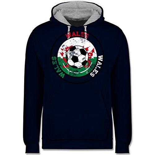 Fußball - Wales Kreis & Fußball Vintage - Kontrast Hoodie Dunkelblau/Grau meliert