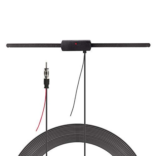 Bingfu Auto Stereo AM FM Radio Verstärkte Antenne, Windschutzscheiben Paste Dipol Antenne für Fahrzeug LKW SUV Auto Stereo Audio CD Media Head Unit Empfänger, 12V Signal Booster Verstärkte Antenne