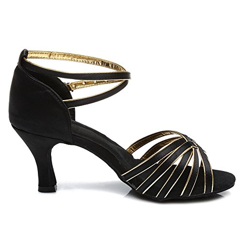 SWDZM Damen Ausgestelltes Tanzschuhe/Standard Latin Dance Schuhe Satin Ballsaal ModellD213-7 Schwarz+Gold
