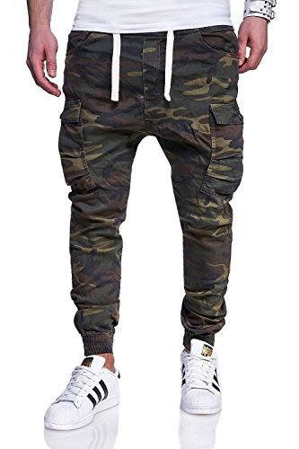 MT Styles Cargo Jogg-Jeans Hose RJ-3188 [Khaki, W32] (Herren-jeans Khaki)
